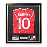 Exclusive Memorabilia John Barnes Back Signed 1989-91 Liverpool Home Shirt In Deluxe Black Frame With Silver Inlay