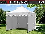 Tente Pliante Chapiteau Pliable Tonnelle Pliante Barnum Pliant FleXtents Pro Morocco 3x3m Blanc, avec 4 cotés