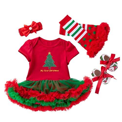 Zegeey Weihnachten KostüM Baby MäDchen Kleinkind Rock Kleid Socken Schuhe Mit Stirnband 4 Teiliges Weihnachtsdeko Festliche Geburtstag Geschenk(A2-rot,12-24 (Polar Prinzessin Kostüm)