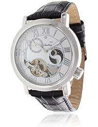 Lindberg & Sons CAP13G212B - Reloj mecanico automatico analogico de pulsera con diamante real para hombre, con correa de cuero negro