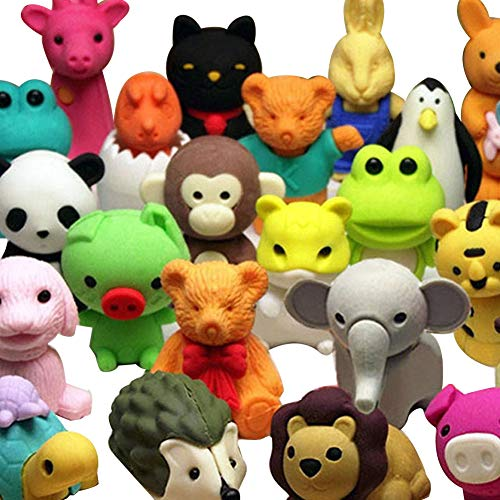 Naisicatar 20pcs Animal de colección Conjunto de Azar Adorable Animals borradores para...