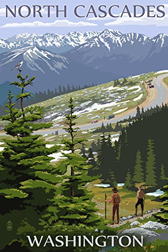 Washington Cascades (North-Cascades, Washington-Trail Szene, Papier, multi, 9 x 12 Art Print)