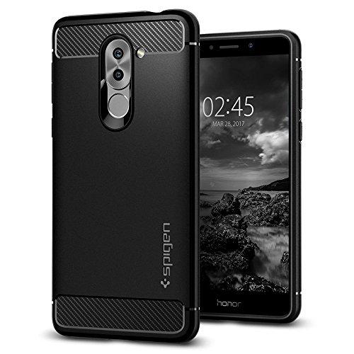 Cover Huawei Honor 6X, Spigen [Rugged Armor] Impressionante Black [Design Meccanica Durevole] TPU silicone / Massima Protezione Da Cadute e Urti - Custodia Huawei Honor 6X, Cover Honor 6X / GR5 2017 / Huawe Mate 9 Lite - Nero (L12CS21415)