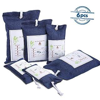 Audew 6 Pack Luftentfeuchter Auto Entfeuchter Lufterfrischer Beutel Nachhaltiger Aktivkohle aus Bambus der Natürliche Geruchsentferner für Auto, Schlafzimmer und Schrank Kombinationssatz