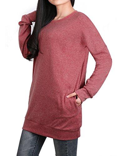 Holiday Damen Tasche (Anna Smith Langarm Tunika Oberteile für Damen, Thermische Kleidung Damen Crewneck Süße Sweatshirts Jumper Holiday Banded Saum Pullover mit Taschen Dusty Pink Rouge Rost M)