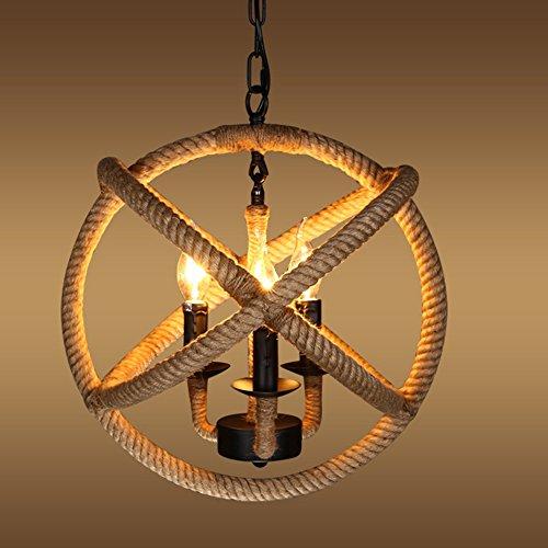 Acai Kreative Weinlese-Industrielle Art-Handgemachte Schnur-Seil-Leuchter-Wohnzimmer-Studie Kugelförmiges Hanf-Leuchter-Schwarzes 35 * 35 Cm (Seil-lampen-basis)