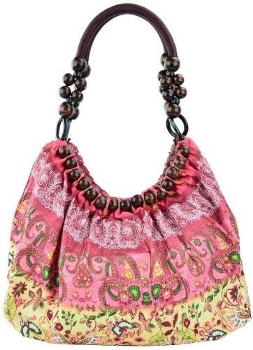 EyeCatch - Belladonna Damen Schultertasche mehrfarbiges Muster gerafft mit Perlen rot Design