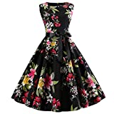 Makefortune Damen Retro Elegante Cocktailkleider Rundhalsausschnitt 50er Jahre Hepburn Sleeveless Abendkleid Swing Dresses