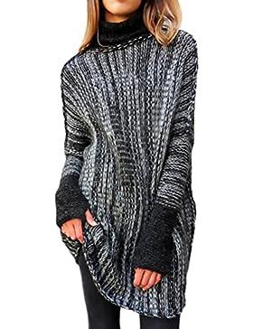 HX fashion Jersey Mujer De Punto Otoño E Invierno Manga Larga Manga Basic Ropa De Murciélago Cuello Alto Elegante...