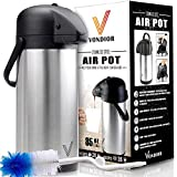 Thermal Coffee Airpot - Beverage Dispenser (85oz.) by Vondior - Stainless Steel Urn