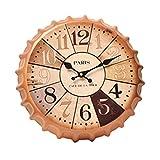 Crown Bottle Cap Retro Wanduhr Adornment Bracket Clock Silent-Wand-Dekor A