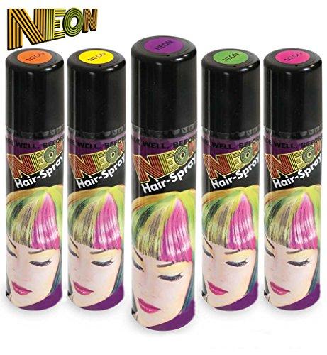KarnevalsTeufel Neon Hair-Spray in verschiedenen knalligen Farben, Haarschmuck ()