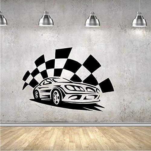 Wuyyii 58X41 Cm Wandaufkleber Wandaufkleber Vinyl Dekoration Sport Car Racer Finish Gewinner Modernes Design Life Boy Zimmer Wandaufkleber