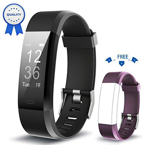 Pulsera Actividad HolyHigh YG3 Plus HR Monitor de ritmo cardíaco Seguimiento de actividad con impermeable/pedómetro/llamada Mensaje Alerta/monitor de sueño para Android e iOS (Negro + Purple)