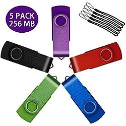 Uflatek Lot de 5 Clé USB 256Mo Pivotant USB 2.0 Flash Drive Portatif U-Disk Externe Stockage Multicolore: Violet Rouge Bleu Vert Noir avec Porte-Clés