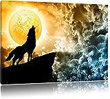 Wolf heult den Mond an Format: 100x70 auf Leinwand, XXL riesige Bilder fertig gerahmt mit...
