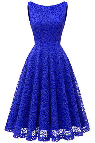 Bbonlinedress Vestito Donna Pizzo Elegante Cerimonia Cocktail matrimonio Senza Manica Royal Blue XL