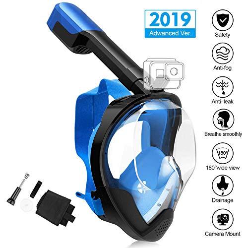 MOVTOTOP Tauchmaske Schnorchelmaske Taucherbrille, Faltbare Vollgesichtsmaske mit 180°Sichtfeld und Kamerahaltung, Anti-Fog Anti-Leck Easybreath Vollmaske für Erwachsene & Kinder (S/M Blau)