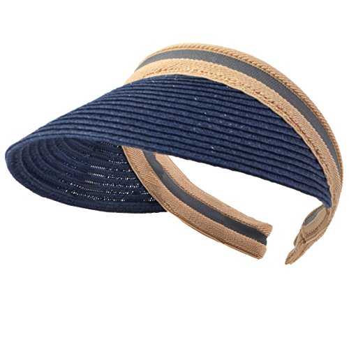 Damen Golf Visier Strand Stroh Sonnenhut Visoren Hüte (Marine) (Golf Visor Für Damen)