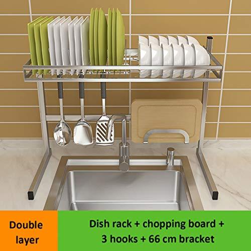 Geschirrschrank 304 Edelstahl Einzelspüle Doppelschicht Mehrere Zubehör Waschbecken Abflussregal Küche Lagerung 66 * 30,5 * 53 Cm (Farbe : A)