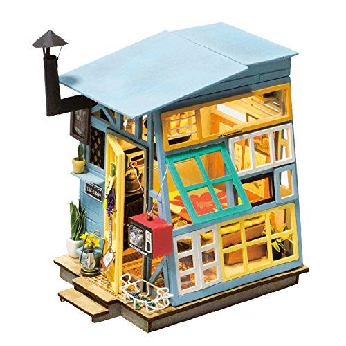 (ROBOTIME Puppenhaus mit Zubehör und Möbel aus Holz Zimmer Gebäude kreative Geschenk für Mädchen 14 Jahre alt und oben (Wooden Hut))