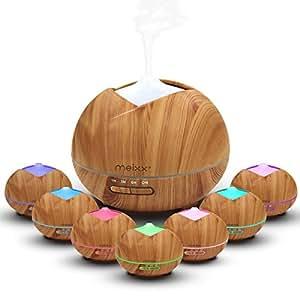 Meixx Diffusore di Aromi e Umidificatore Ultrasuoni 400ml, Aromaterapia Terapie Diffusore di Oli Essenziali Umidificatore per Ufficio, Yoga, Spa, Stanza per Bambini. 7 Colori LED (Grano di legno) Regalo della festa della papà mamma