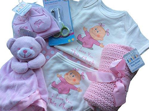 Regalo nascita per neonato, unisex, contenuto della borsa: bavaglino, copertina, pantofole, cappello, piumino, set per unghie e forbicine unghie