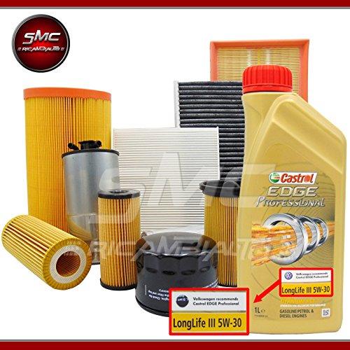 SMC Kit mélange avec huile moteur castrol Longlife 5 L + 4 filtres (Filtre à huile, filtre à air, filtre carburant et filtre d'habitacle)