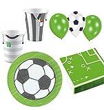 Foxxeo Fussball Geburtstags-Deko Party Set Nr. 5 für 8 Kinder mit Teller Becher Ballons Servietten