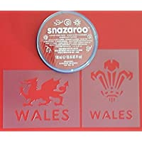 Dazzle Glitter Tattoos Welsh Three feather & dragon face painting set including face paint & stencils Wales 6 nations rugby St. David