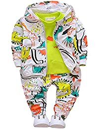Hopscotch Boys Cotton Art Print T-Shirt with Jacket and Pant Set in Green Color