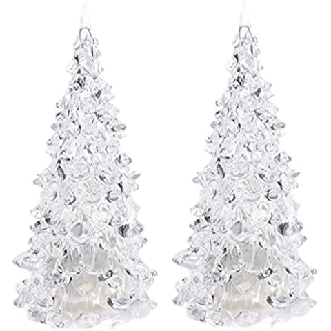 SODIAL(R) 2x LED que cambia de color artificial de cristal Decoracion de Navidad arbol de Navidad luz de la noche