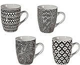 Bada Bing 4er Set Tassen Strick Muster schwarz weiß 4-fach sortiert Jaquard