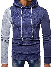 ITISME Herren Pullover Mens Splicing Pocket Pullover Langarm Kapuzenpulli Tops Bluse