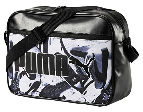 Puma Campus Reporter Umhängetasche, schwarz black-Sneaker graphic, 40 x 29 x 13,5 cm (Bag Messenger Puma)