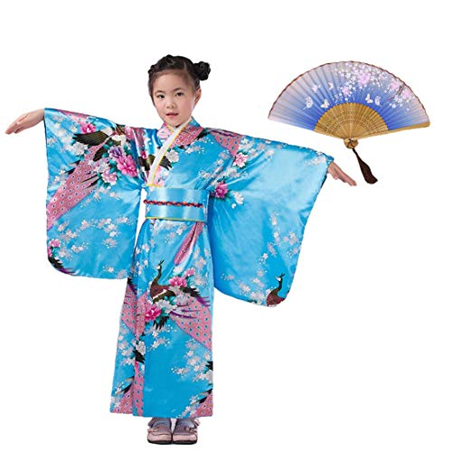 LOLANTA Mädchen Kimonos Asian Top Dress Robe Kind Japanisches Kleid Kimono & Faltfächer