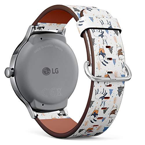 Art-Strap Kompatibel mit für LG Watch Style - Leder-Armband Uhrenarmband Ersatzarmbänder mit Schnellverschluss (Süße Frohe Weihnachten)