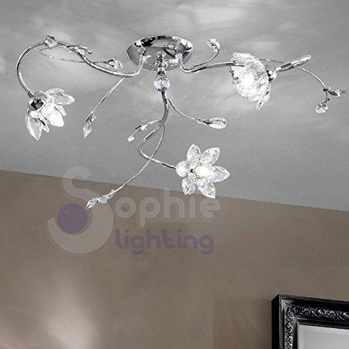 Plafoniera soffitto lampadario design moderno 3 luci bracci fiori mandorle cristallo acciaio cromato NINFEA PL3 CR SOPHIE LIGHTING