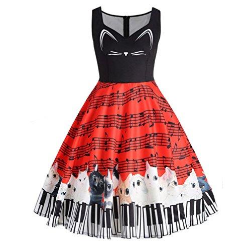 Bellelove Katzen-musikalische Anmerkung der Frauen, die ärmelloses Partei-Kleid-beiläufiges Vintages Spitzenkleid druckt (XXL, (Musikalische Kostüm Party)