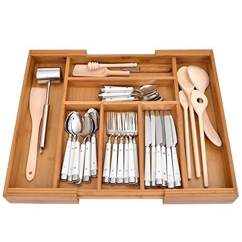 GRÄWE Schubladeneinsatz aus Bambus, Besteckkasten für Küchen-Schubladen, Holzoptik, 5-7 Fächer, variabel ausziehbar - 36,5-56,5 cm
