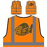 Fisch Smiley Ozean Zoo Personalisierte High Visibility Orange Sicherheitsjacke Weste o543vo