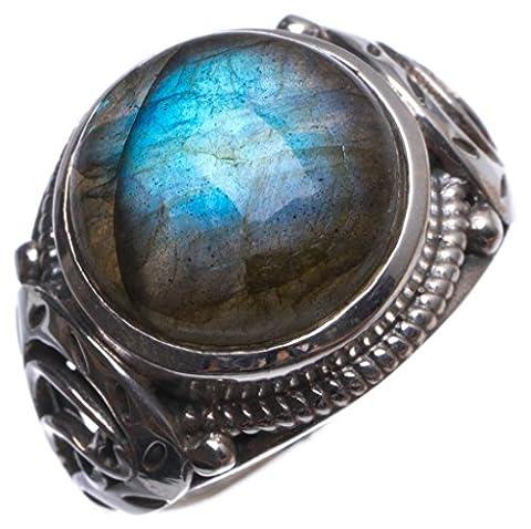 Stargems (TM) Naturel de qualité supérieure Blue Fire labradorite faite à la main Boho Bague en argent sterling 925, taille O