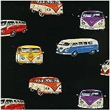 Fat Quarter VW Camper Vans On Tour-Stoff zum Quilten Nutex - 50 x 55 cm