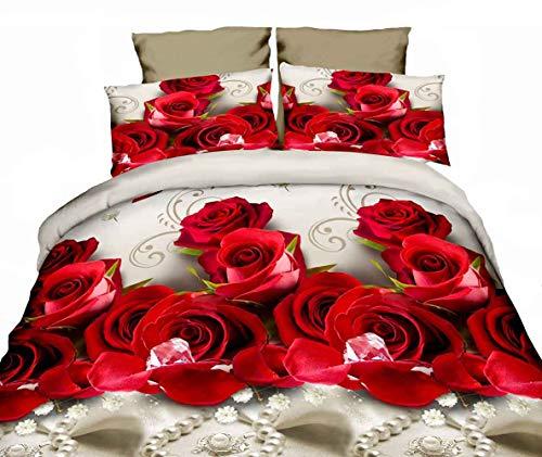 ZQYY 3D Bettbezug, Rose Blume Bettwäsche-Sets, Mikrofaser, Lieferumfang:Bettbezug 200 * 230cm*1 Kissenbezug 48 * 74cm*2, Bettlaken 250 * 250cm*1