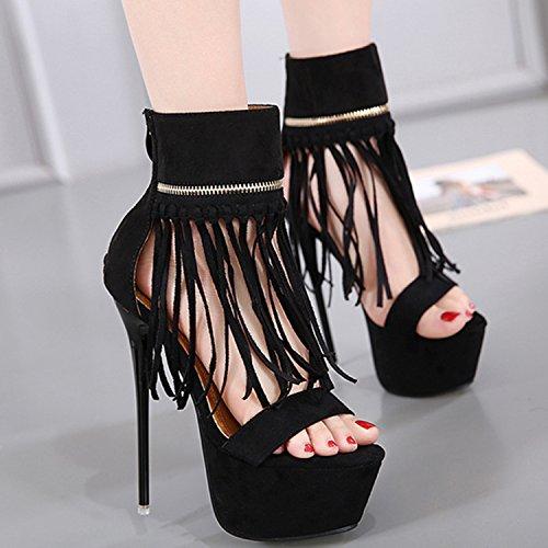 Oasap Women's Peep Toe Platform Tassel High Heels Sandals Black