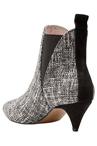 next Femme Boots En Tweed Monochrome À Petit Talon Et Bout Pointu Noir
