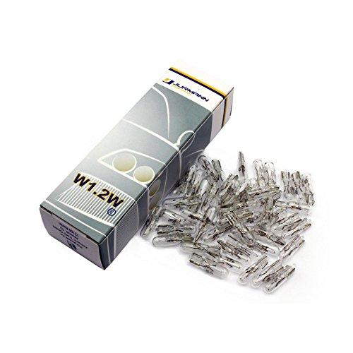 Jurmann Trade GmbH® 50x Stück 12V W1.2W T5 W2x4.6d Miniatur Tacho Lampe Tachobeleuchtung Blinkleuchte Halogen Lampen Autolampen KFZ-Beleuchtung Birne (Can Box Test)