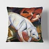 BIG Box Art Franz Marc Hund, Katze und weiß Fuchs, Die Polster Überwurf Kissen, Mehrfarbig, 43x 43cm