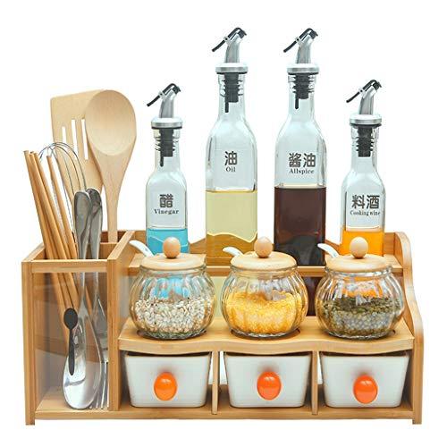 Rack da Cucina - portaspezie, Set di stoccaggio Multifunzione a Pavimento, Legno di bambù, deposito di condimenti per Uso Domestico (Colore : B)