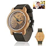 Personalized Wood Watch Custom Photo Watch with Engraving and Unisex Analog Dial Sport Quartz Watch Leather Strap Diameter